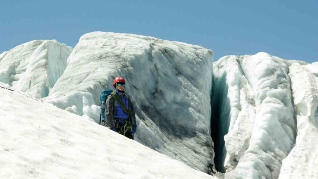 Фото на фоне ледника Du Tour