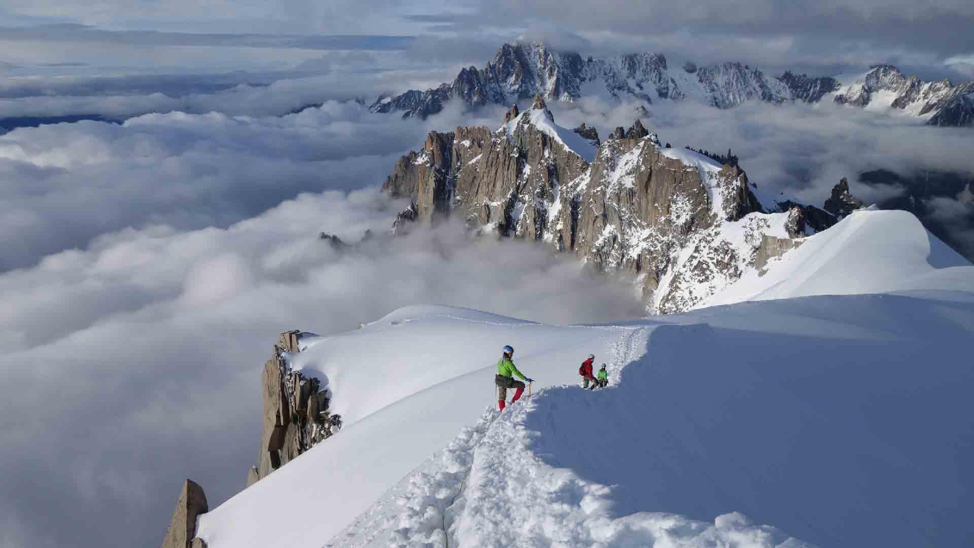 Спуск с Aiguille du Midi 3842